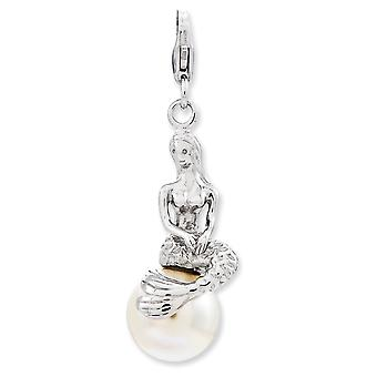 925 Sterling Silver Rhodium plaqué Fancy Lobster Closure 3-d Sirène Freshwater Cultured Pearl With Lobster Clasp Charm