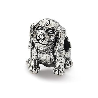 925 Sterling Silver Polished Antique finish Reflections Beagle Bead Charm