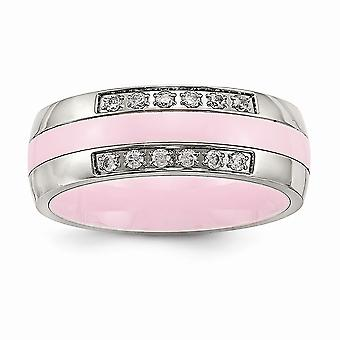 7mm Stainless Steel Polished Pink Ceramic Cubic Zirconia Ring - Ring Size: 5 to 10