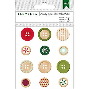 Holiday Elements Wooden Buttons 12/Pkg- 340564
