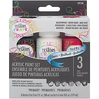 Testors Craft Acrylic Paint Set 3/Pkg-Primary Gloss 297598