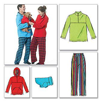 Misses' Men's Teen Boys' Tops, Pants And Dog Blanket  Z Lrg  Xlg Pattern M6252  0Z0
