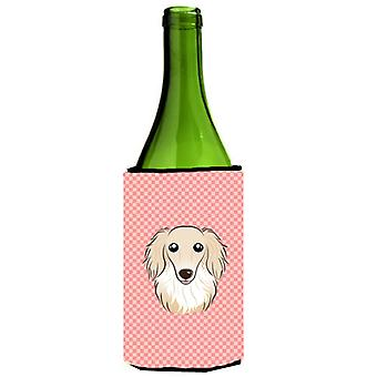 Checkerboard Pink Longhair Creme Dachshund Wine Bottle Beverage Insulator Hugger