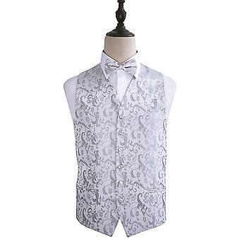 Passion Silver Wedding Waistcoat & Bow Tie Set