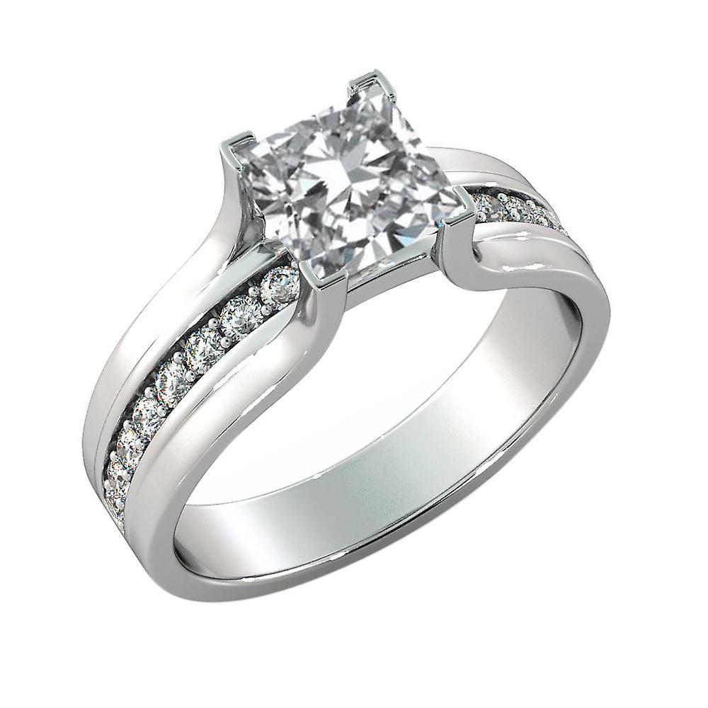 1.5 Carat F SI1 Diamond Engagement Ring 14K White Gold Solitaire w Accents Bridge Channel set