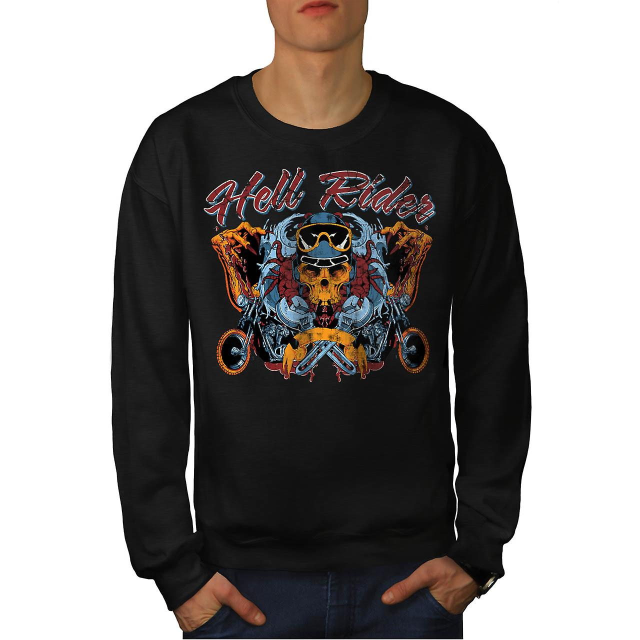 Skull Biker Hell Rider Men Black Sweatshirt | Wellcoda