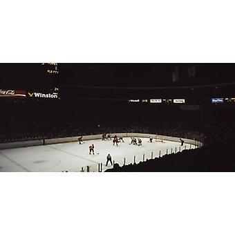 Group of people playing ice hockey Chicago Illinois USA Poster Print