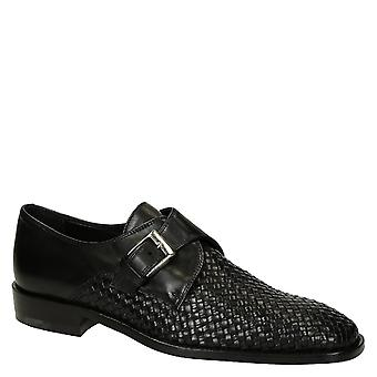 Black woven leather monk strap shoes handmade