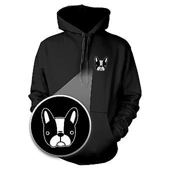 Fransk Bulldog Hoodie Pocket Print tröja för hundälskare