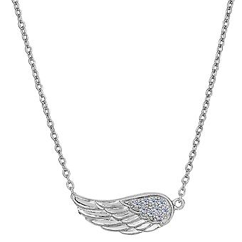Sterling Silver Sideways Angel Wing Pendant CZ Fashion Necklace, 18