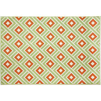 Grøn & Orange geometrisk tæppe - Floorit