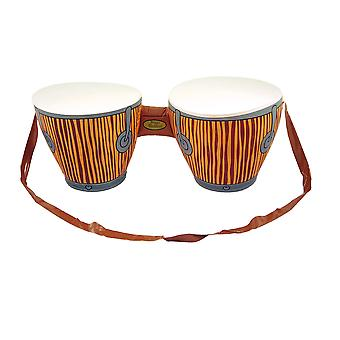 Large Inflatable Brown Bongo Drums With Strap Tropical Fancy Dress Accessory