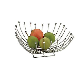 Chrome Metal Square Shape Fruit mand tafeldecoratie 30cm