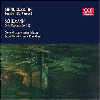Mendelssohn/Schumann - Mendelssohn: Symfonie nr. 3; Schumann: Celloconcert [CD] USA importeren