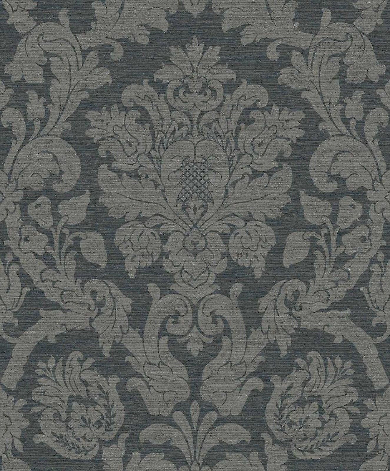Damask Wallpaper Kensington Charcoal Glitter Luxury Washable Grandeco
