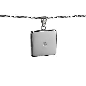 Silver 22mm flat square plain Locket with a curb Chain 18 inches