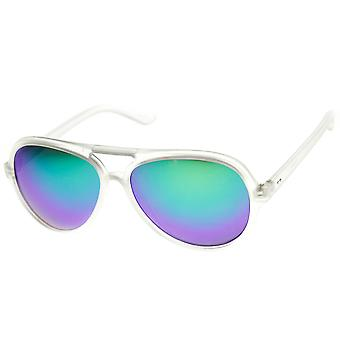 Frosted Color Mirror Lens Plastic Aviator Sunglasses