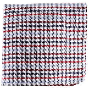 Knightsbridge Neckwear Checked Silk Pocket Square - Red/Silver/Navy