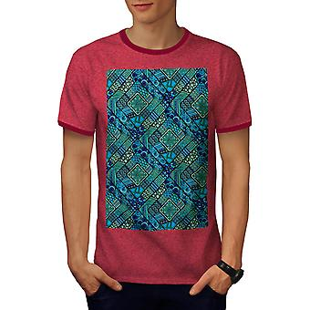 Chinese Beautiful Pattern Men Heather Red / Red Ringer T-shirt | Wellcoda
