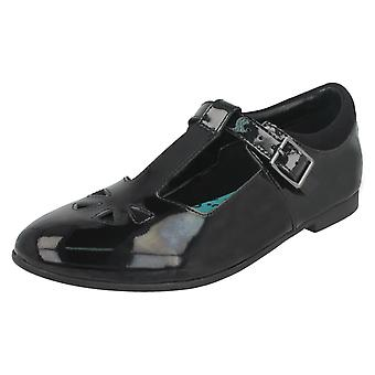Girls Bootleg By Clarks T-Bar School Shoes Selsey Play