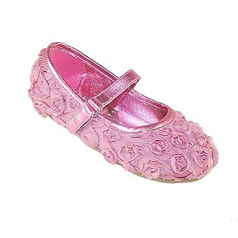 Infant girls pink flower special occasion ballerinas