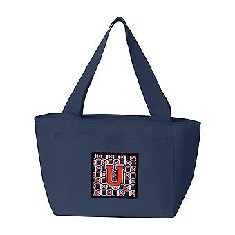 Letter U Football Orange, Blue and white Lunch Bag