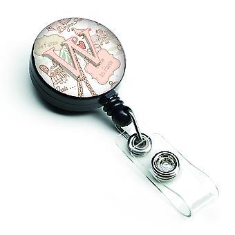 Letter W Love in Paris Pink Retractable Badge Reel