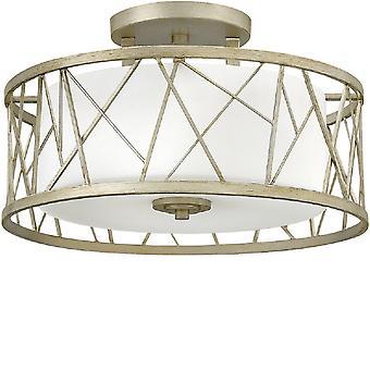 HK/NEST/SF SL Nest Silver Leaf 3 Light Semi Flush Ceiling Light