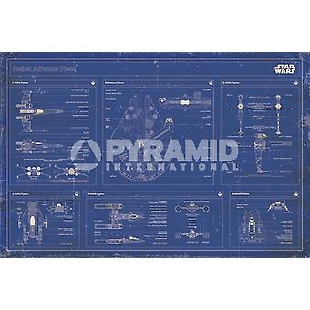 Star Wars - Rebel alliance fleet blueprint Poster Poster Print by