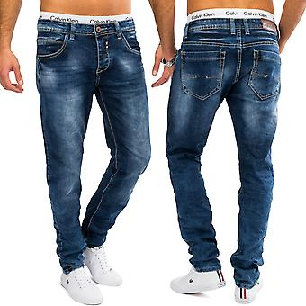 Mens stone washed denim jeans blue AARON slim fit trousers tapered stretch