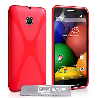 Yousave Accessories Motorola Moto E Silicone Gel X-Line Case - Red