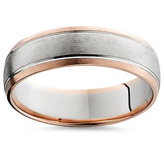14 K Rose & White Gold Two Tone Mens Wedding Band