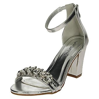 Ladies Anne Michelle Jewel Trim Sandals - Silver Metallic - UK Size 4 - EU Size 37 - US Size 6