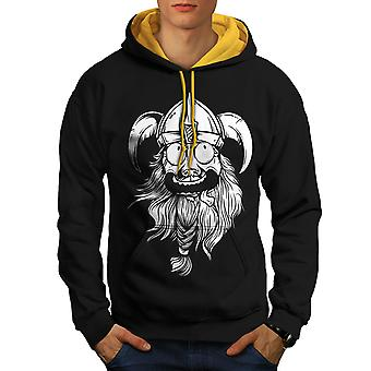 Crazy North Joke Men Black (Gold Hood)Contrast Hoodie | Wellcoda