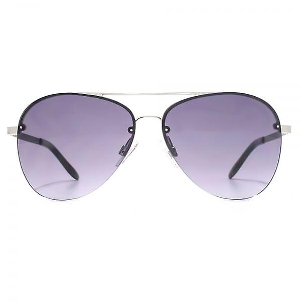French Connection Half Rim Pilot Sunglasses In Matte Silver