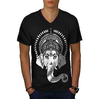 Indische Kunst Ganesha Männer BlackV-Neck T-shirt | Wellcoda