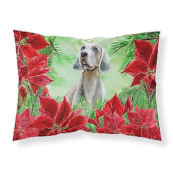 Weimaraner Poinsettas Fabric Standard Pillowcase