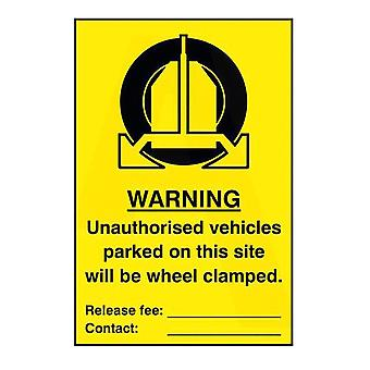 ASEC `Unauthorised Vehicles Parked On This Site Will Be Wheel Clamped` Self Adhesive Sign