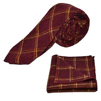Heritage Warm Red Check Tie & Pocket Square Set