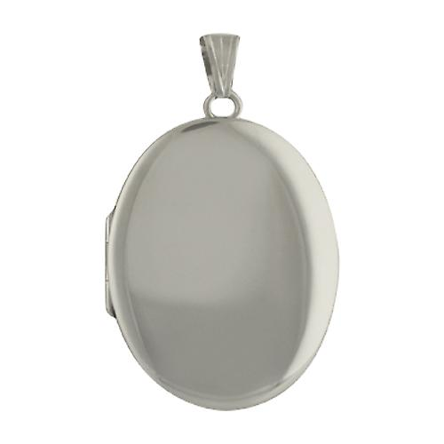9ct White Gold 35x26mm plain handmade oval Locket