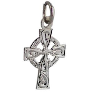 9ct White Gold 16x11mm hand engraved Celtic Cross
