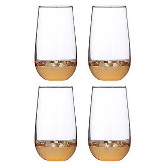 Premier Housewares Horizon Set of 4 Hi Ball Glasses, Gold