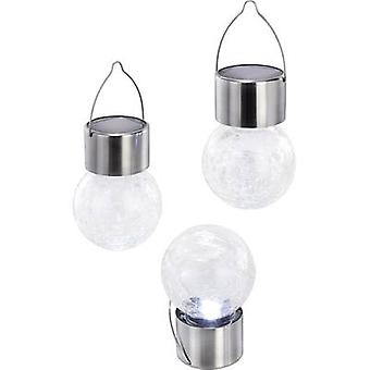 Solar decorative light 3-piece set LED Cold white Esotec Crackle Ball 102304 Transparent