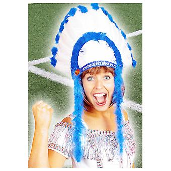Supporters articles and musical instruments  Indians headdress white blue