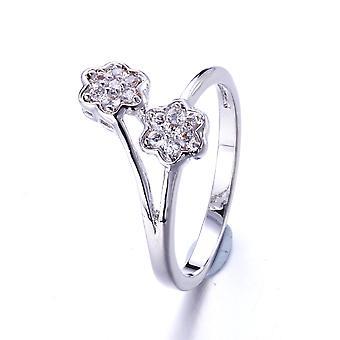 Ring Swarovski Kristallelementen weiße Blume und Rhodium - T50