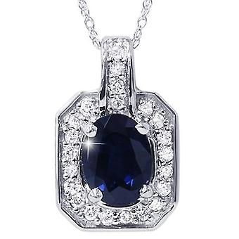 1 7/8ct Oval Genuine Blue Sapphire & Diamond Halo Pendant 14K White Gold