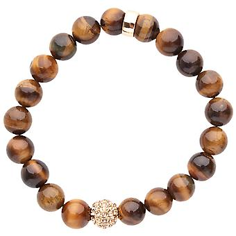 Iced out unisex wooden CZ Bead Bracelet - 10mm wood Brown