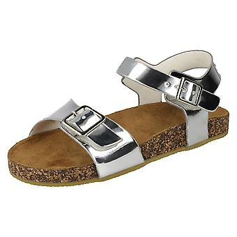 Girls Spot On Flat Buckle Strap Sandals - Silver Synthetic - UK Size 12 - EU Size - EU Size 30 - US Size 13