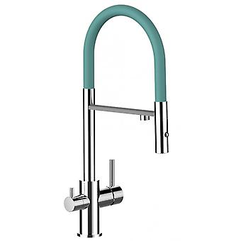 The three-way faucet chrome kitchen extendable Rod spring turquoise tiffany and pull-out spray 2 jets for air cleaner filter