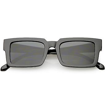 Retro Horn Rimmed Square Sunglasses Wide Arms Flat Lens 51mm